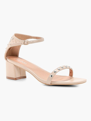BOOHOO Amelia Studded 2 Part Low Heel Sandals