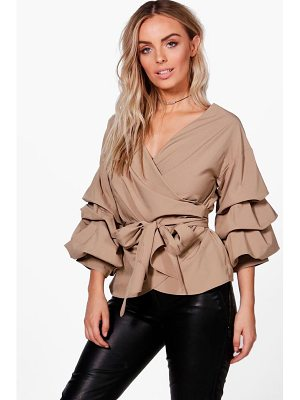 BOOHOO Amelie Ruffle Tiered Sleeve Wrap Top
