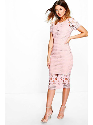 BOOHOO Amy All Over Crochet Border Detail Midi Dress