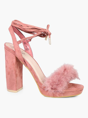 BOOHOO Amy Faux Feather Trim Ankle Wrap Platform Heel