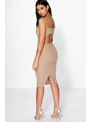 Boohoo Ania Square Neck Wide Back Strap Midi Dress