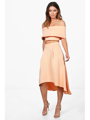 BOOHOO Anna Off Shoulder Crop & Dip Hem Co-Ord Set