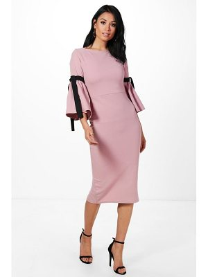 BOOHOO Annabel Tie Sleeve Midi Dress