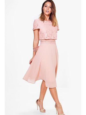 BOOHOO Annie Lace Top Chiffon Skater Dress