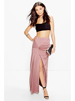 BOOHOO Anya Drape Pleat Split Side Maxi Skirt