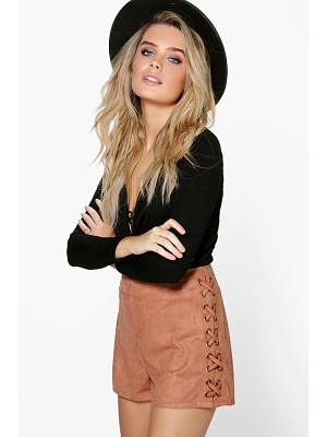 BOOHOO Aria Lace Up Side Faux Suede Shorts
