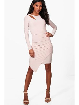 BOOHOO Aria Slinky Ruched Detail Long Sleeve Bodycon Dress
