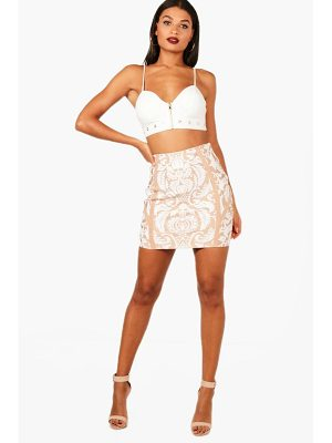 Boohoo Premium Heavy Bandage Printed Mini Skirt