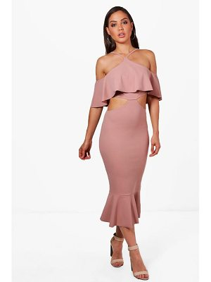 BOOHOO Ash Strappy Frill Detail Cut Out Midi Dress