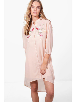 BOOHOO Ashley Boutique Floral Embroidered Dress