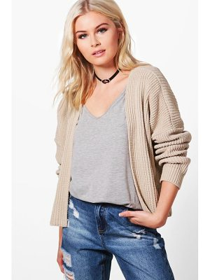 Boohoo Ashley Oversized Rib Crop Cardigan