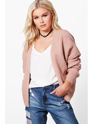 BOOHOO Ashley Oversized Rib Cropped Cardigan