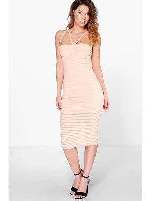 Boohoo Astrid Rib Mesh Panel Strappy Midi Dress