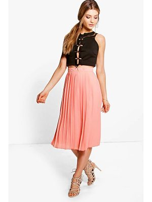 BOOHOO Aura Chiffon Pleated Midi Skirt