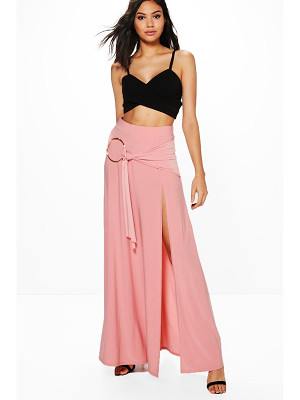 Boohoo Aura O Ring Thigh Split Maxi Skirt