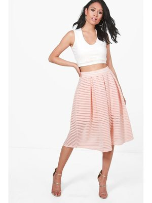 BOOHOO Aura Sheer Mesh Stripe Box Pleat Skater Skirt