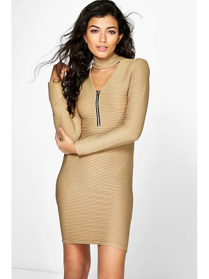 BOOHOO Ava Choker Plungezip Bodycon Rib Dress