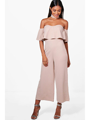Boohoo Off The Shoulder Ruffle Culotte Jumpsuit