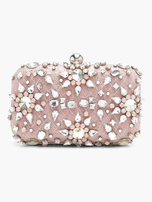 BOOHOO Ava Premium Embellished Diamante Box Clutch Bag