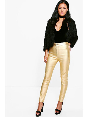 BOOHOO Avah Metallic Coated Super Skinny Highwaist Trousers
