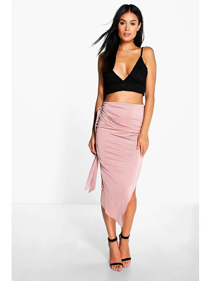 Boohoo Baha Tie Side Asymetric Midi Skirt