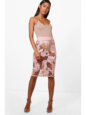 BOOHOO Bea Boutique Mesh Embroidered Midi Skirt