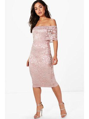 Boohoo Lace Off Shoulder Midi Dress