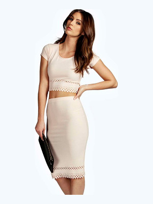 BOOHOO Beatrix Cap Sleeved Cut Work Midi Co-Ord Set