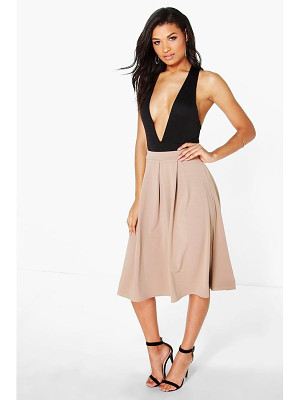 BOOHOO Beau Scuba Box Pleat Midi Skirt