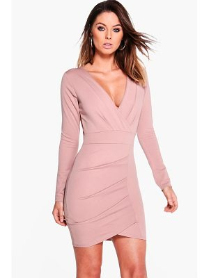 Boohoo Pleat Detail Wrap Bodycon Dress