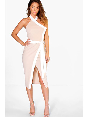 BOOHOO Bekki High Neck Wrap Tie Contrast Midi Dress