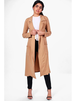 BOOHOO Bella Belted Pocket Longline Duster