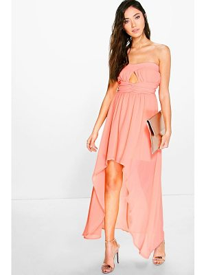 Boohoo Bella Chiffon Pleat Detail Bandeau Dip Hem Dress