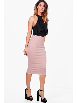 Boohoo Bella Crepe Stretch Midi Skirt