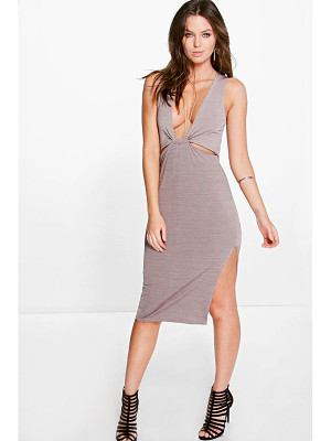 BOOHOO Bella Cut Out Detail Side Split Midi Dress