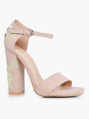 BOOHOO Bella Embroidered Block Heel Two Parts