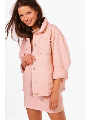 BOOHOO Bella Pearl Embellished Oversized Denim Jacket