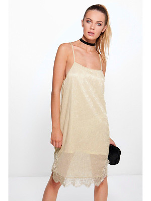 BOOHOO Bethan Metallic Strappy Lace Bodycon Dress