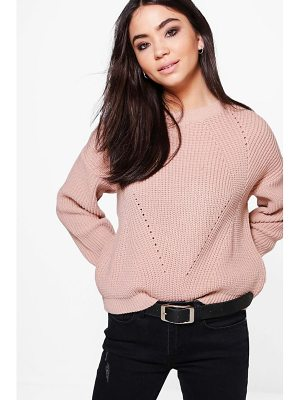BOOHOO Bethany Oversized Mix Stitch Jumper