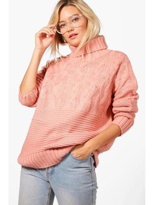 BOOHOO Bethany Roll Neck Cable Knit Jumper