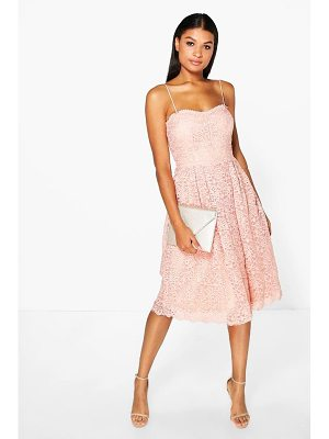 ae2b41c28100 Boohoo Boutique Embroidered Strappy Midi Skater Dress