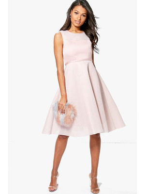Boohoo Boutique Mesh Sweetheart Midi Skater Dress