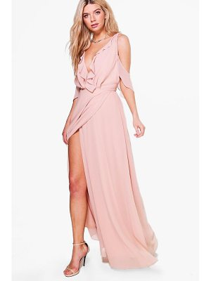 BOOHOO Boutique Alaina Chiffon Frill Wrap Maxi Dress