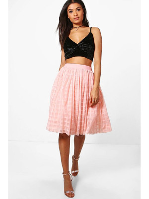 BOOHOO Boutique Amala Grid Tulle Full Midi Skirt