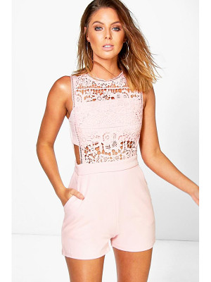 Boohoo Boutique Crochet Barely There Romper