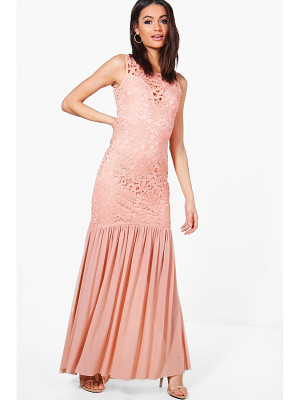 BOOHOO Boutique Anna Crochet Peplum Maxi Dress