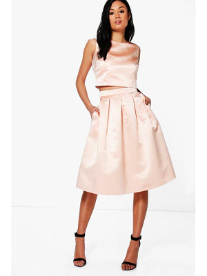 BOOHOO Boutique Arayah Box Pleat Satin Skater Skirt