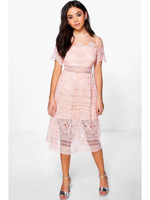 BOOHOO Boutique Cary Lace Mesh Midi Skater Dress