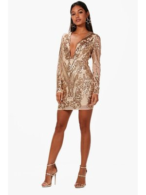 BOOHOO Boutique Christie Sequin Mesh Bodycon Dress