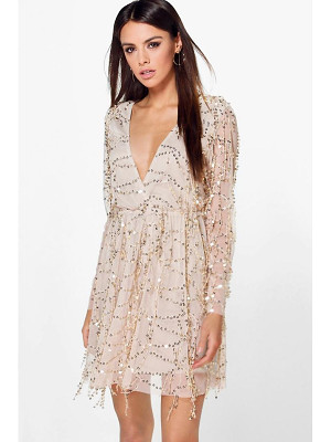 Boohoo Boutique Dana Sequin Wrap Over Skater Dress